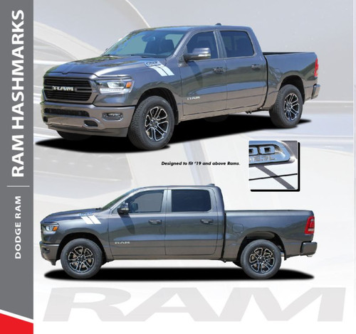 Dodge Ram HASH MARKS Hood Fender Stripes Double Bar Slash Decals Vinyl Graphics Kit 2019-2020 Models