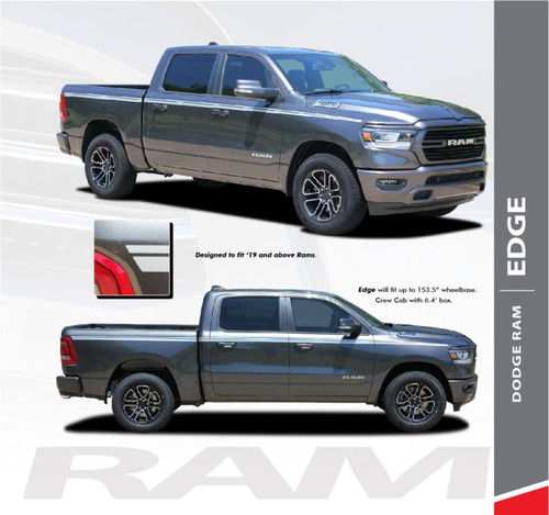 Dodge Ram EDGE Body Side Decals Door Accent Stripes Vinyl Graphics Kit 2019-2020 Models