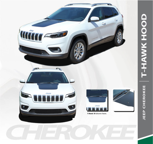 Jeep Cherokee T-HAWK WINGED Trailhawk Hood Center Blackout Vinyl Graphics Decal Stripe Kit for 2013 2014 2015 2016 2017 2018 2019