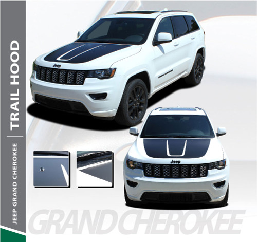 Jeep Grand Cherokee Hood Blackout TRAIL HOOD Vinyl Graphics Decal Stripe Kit 2011-2019