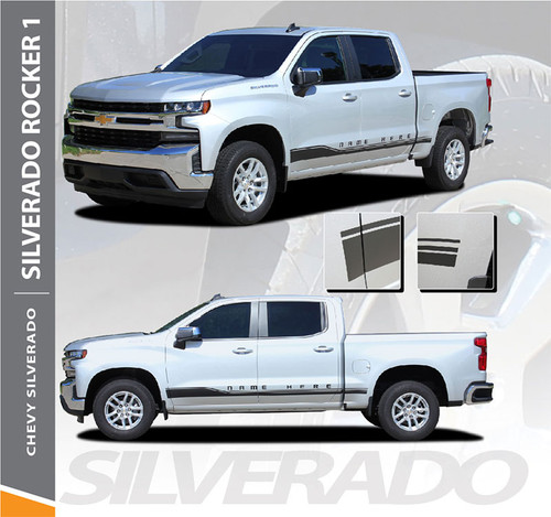 Chevy Silverado Stripes Lower ROCKER ONE Door Decals Rocker Panel Vinyl Graphic Kit fits 2019 2020