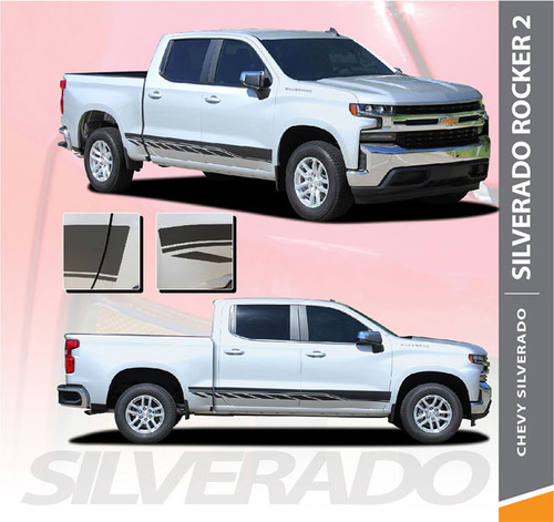 Chevy Silverado Stripes ROCKER TWO Lower Door Decals Rocker Panel Vinyl Graphic Kit fits 2019 2020
