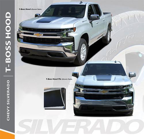 Chevy Silverado Hood Decals Trail Hood T-BOSS HOOD Stripe Vinyl Graphic Kit fits 2019 2020