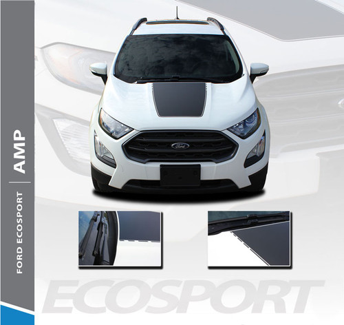 Ford EcoSport Center Hood AMP HOOD Vinyl Graphics Decal Stripe Kit 2013 2014 2015 2016 2017 2018 2019