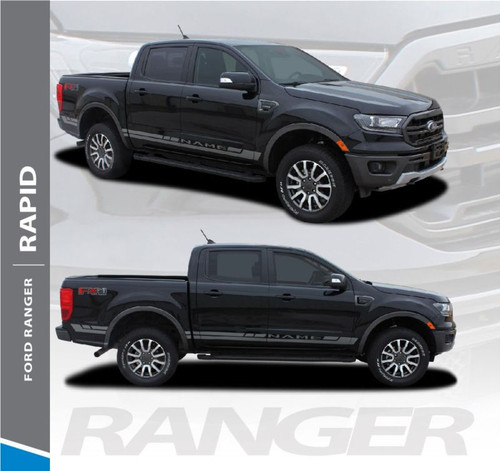 2019 Ford Ranger Rocker Panel Door Stripes RAPID ROCKER Body Vinyl Graphics Decal Kit 2019 2020