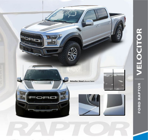 Ford Raptor Hood Stripes VELOCITOR HOOD Decals Vinyl Graphics Kit 2018 019 2020 (MCG-5719)