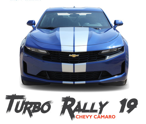 2019 2020 Chevy Camaro Racing Stripes TURBO RALLY 19 Hood Decals Bumper to Bumper Vinyl Graphics Kit