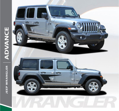 Jeep Wrangler ADVANCE Side Door Decals Body Stripes Vinyl Graphics Kit for 2018-2020 Models