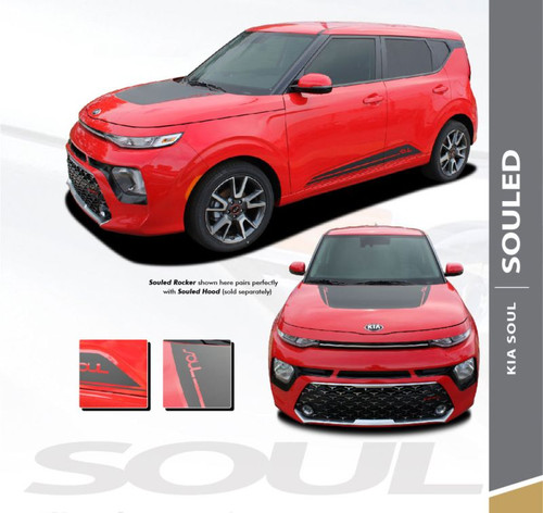 Kia Soul SOULED Hood Decal and Door Body Stripes Striping Vinyl Graphics Decals Kit for 2020 2021 Model Years
