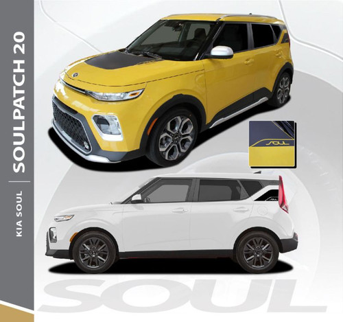 2020 Kia Soul SOUL PATCH Hood Decal and Door Body Stripes Striping Vinyl Graphics Decals Kit for 2020 2021 Model Years
