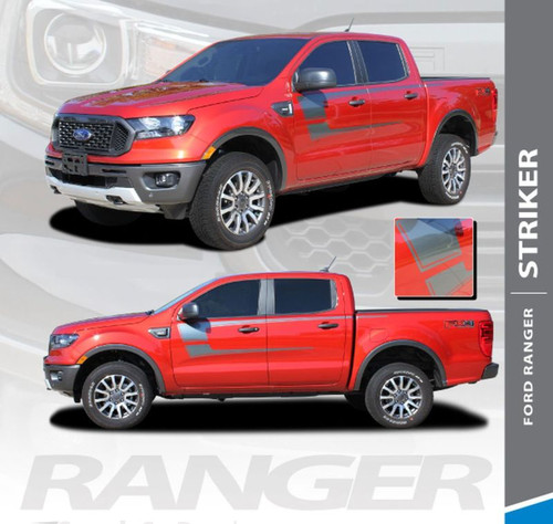 2019 Ford Ranger Side Door Stripes STRIKER Body Vinyl Graphics Decal Kit 2019 2020