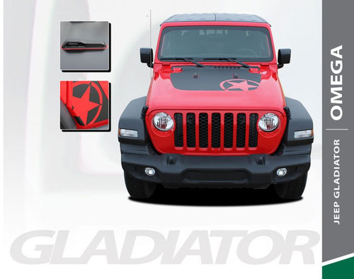 Jeep Gladiator OMEGA Hood Blackout Center Vinyl Graphics Decal Stripe Kit for 2020 2021 Models