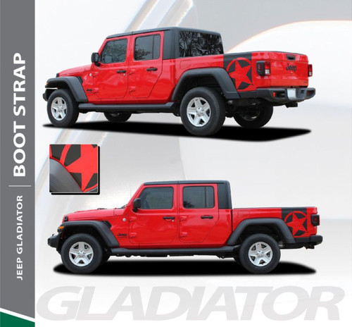 Jeep Gladiator BOOTSTRAP Side Body Vinyl Graphics Decal Stripe Kit for 2020 2021 Models