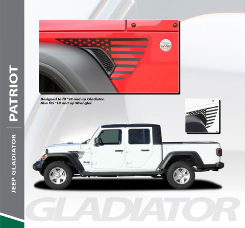 Jeep Gladiator PATRIOT Star Vinyl Graphics Decal Stripe Kit for 2020 2021 Models