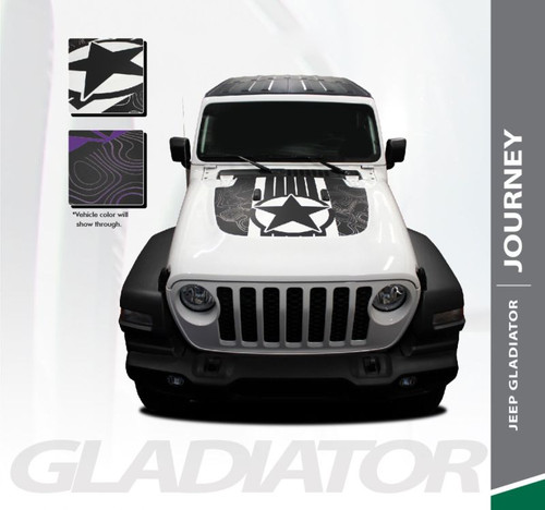 Jeep Gladiator JOURNEY Hood Vinyl Graphics Decal Stripe Kit for 2020 2021 Models