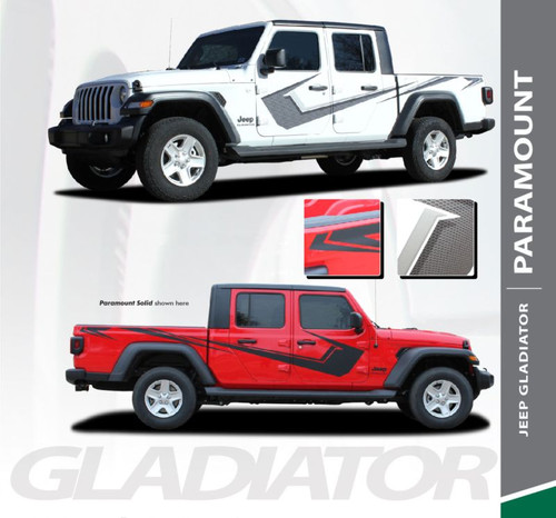 Jeep Gladiator PARAMOUNT Side Body Vinyl Graphics Decal Stripe Kit for 2020 2021 Models