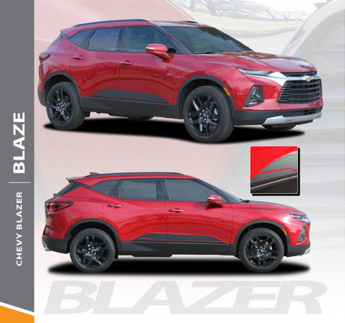 Chevy Blazer BLAZE Lower Rocker Door Panel Body Accent Vinyl Graphic Decal Stripe Kit 2019 2020 (6816)
