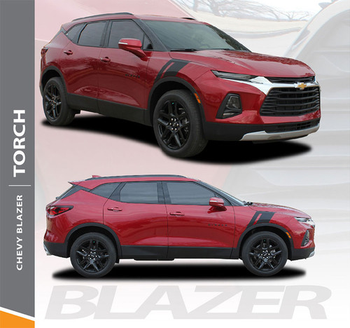 Chevy Blazer TORCH Fender Hood Stripes Decals Accent Vinyl Graphic Decal Stripe Kit 2019 2020 (6818)