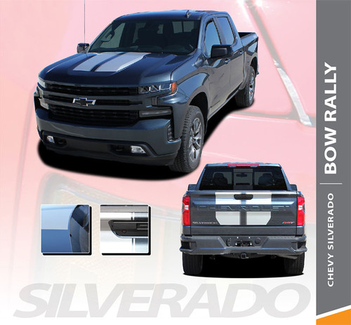Chevy Silverado Hood and Tailgate Decals BOW RALLY Stripes Vinyl Graphic Kit fits 2019 2020