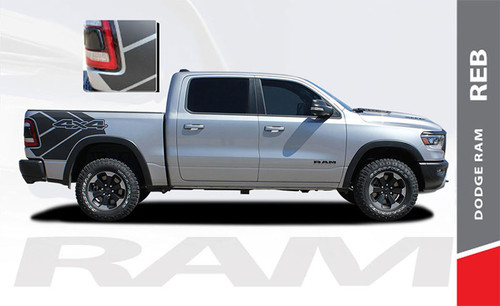 Dodge Ram Rebel Decals REB SIDES 1500 Body Stripes Vinyl Graphics Kit 2019-2021 Models