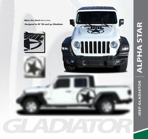 Jeep Gladiator ALPHA Hood Blackout Center Vinyl Graphics Decal Stripe Kit for 2020 2021 Models