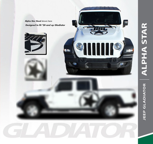 Jeep Gladiator ALPHA Hood Blackout Center Vinyl Graphics Decal Stripe Kit for 2020 2021 Models