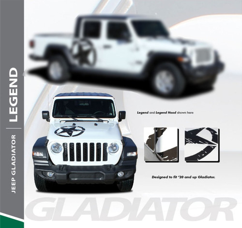 Jeep Gladiator LEGEND Hood Blackout Center Vinyl Graphics Decal Stripe Kit for 2020 2021 Models