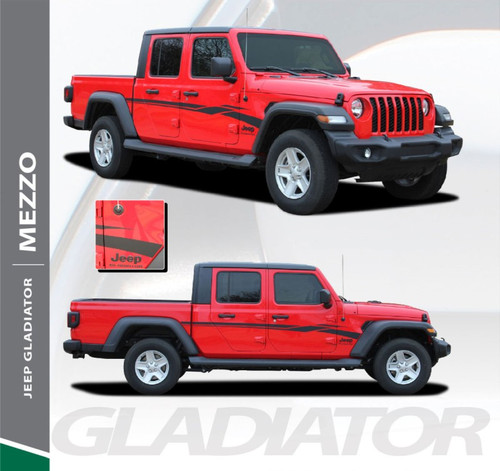 Jeep Gladiator MEZZO Side Body Door Vinyl Graphics Decal Stripe Kit for 2020 2021 Models