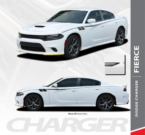 Dodge Charger FIERCE Side Body Vinyl Graphic Door Decals and Stripe Kit for 2015 2016 2017 2018 2019 2020