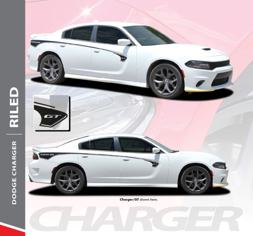 Dodge Charger RILED Side Body Vinyl Graphic Door Decals and Stripe Kit for 2015 2016 2017 2018 2019 2020