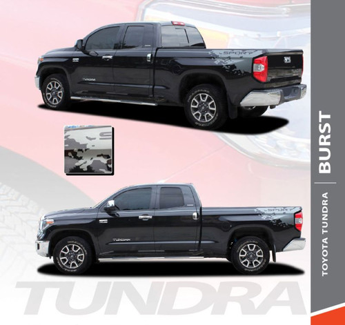Toyota Tundra BURST Rear Bed Vinyl Graphics with Upper Body Accent Stripe Decals Kit for 2014 2015 2016 2017 2018 2019 2020 2021