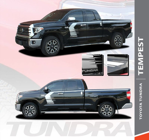Toyota Tundra TEMPEST Side Body Vinyl Graphics Door to Bed Upper Accent Decal Stripes Kit for 2014 2015 2016 2017 2018 2019 2020 2021