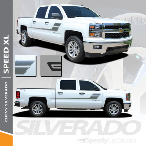 SPEED XL : 2007-2018 Chevy Silverado GMC Sierra Hockey Side Door Vinyl Graphic Decal Stripe Kit