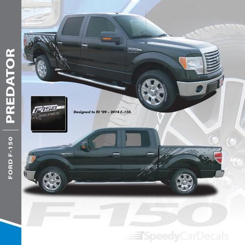 PREDATOR : 2009-2014 Ford 150 F-Series Raptor Style Mudslinger Rear Truck Bed Vinyl Graphics Decals Stripe Kit