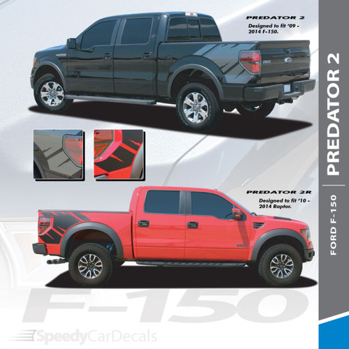 """PREDATOR 2 : 2009-2014 Ford F-Series """"Raptor"""" Style Rear Truck Bed Vinyl Graphics Decals Stripes Kit"""