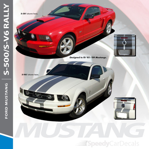 "S-V6 : 2005-2009 Ford Mustang V6 Lemans GT500 Style 10"" Wide Vinyl Racing Stripe Rally Kit"