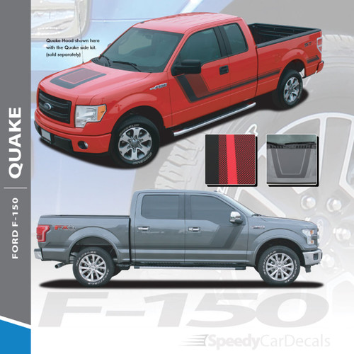 QUAKE PACKAGE : 2009-2014 Ford F-150 Hockey Stripe Tremor FX Appearance Style Side Doors and Hood Vinyl Graphics Decals Striping Kit