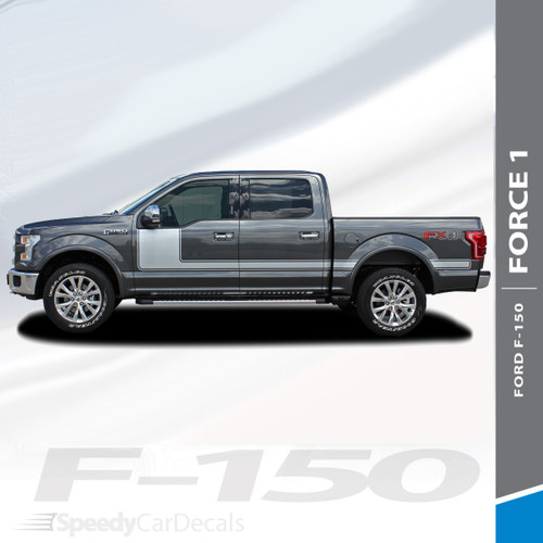 """FORCE ONE SOLID : 2009-2014 and 2015-2018 Ford F-150 Hockey Stripe """"Appearance Package Style"""" Vinyl Graphics Decals Kit"""