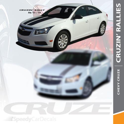 CRUZE RALLY : 2008-2014 Chevy Cruze Cruzin Rally Racing Stripes Hood Trunk Vinyl Graphics Decal Kit