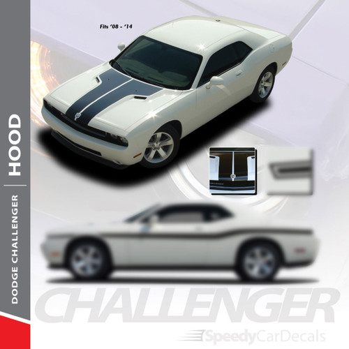 CHALLENGER HOOD : 2008-2014 Dodge Challenger Factory OEM Style Vinyl Hood Graphic Rally Stripe Decal Kit