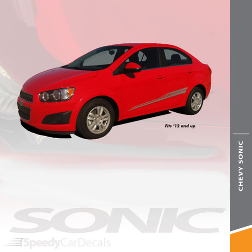 BOOM : 2012-2016 Chevy Sonic Hood Graphic and Lower Rocker Panel Vinyl Graphic Stripe Decals