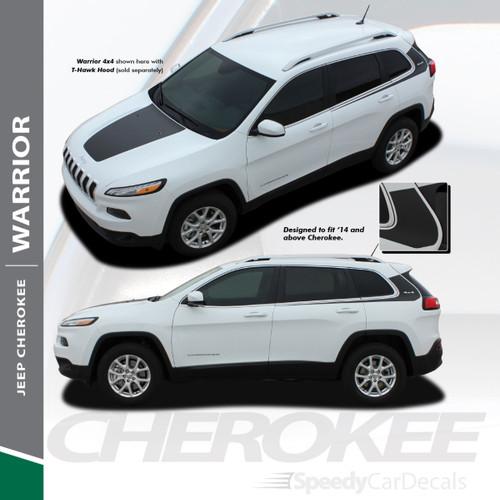 WARRIOR : 2013-2020 Jeep Cherokee Upper Body Line Door Accent Vinyl Graphics Decal Stripe Kit