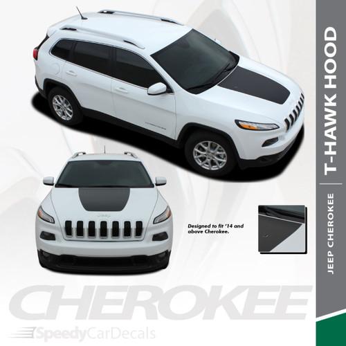 T-HAWK : 2013-2020 Jeep Cherokee Trailhawk Center Hood Blackout Vinyl Graphics Decal Stripe Kit