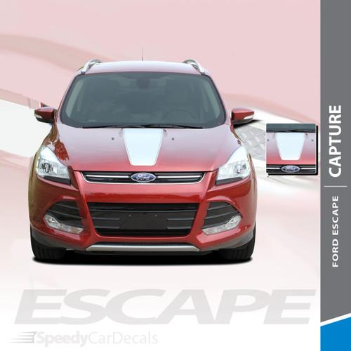 CAPTURE : 2013-2019 Ford Escape Center Hood Vinyl Graphics Decal Stripe Kit