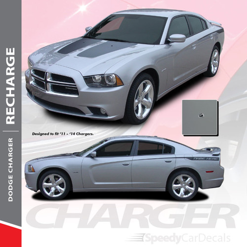 RECHARGE COMBO : 2011-2014 Dodge Charger Split Hood Decals and Rear Quarter Panel Stripe Vinyl Graphics Kit