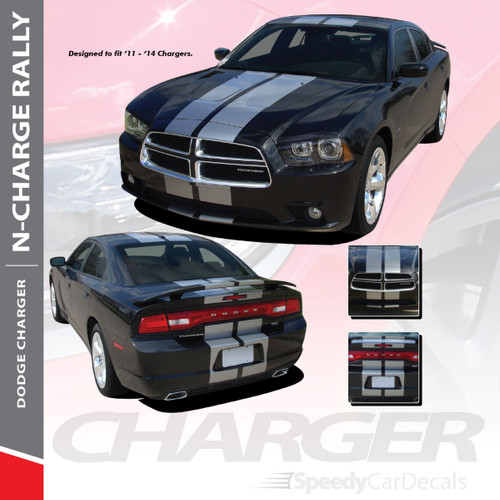 "N-CHARGE RALLY : 2011-2014 Dodge Charger 10"" Racing Stripes Vinyl Graphics Rally Decal Kit"