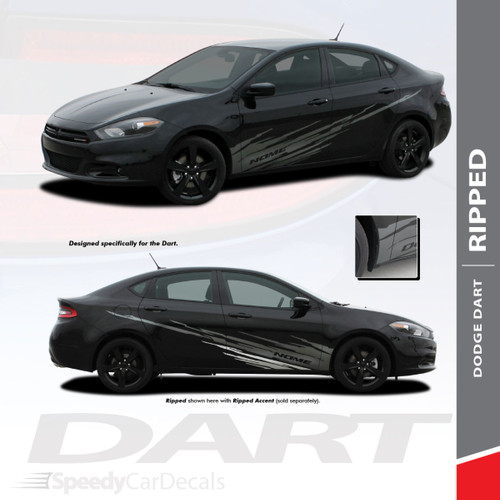 RIPPED : 2013-2016 Dodge Dart Lower Door Splash Style Rocker Vinyl Graphics Decal Stripes Kit