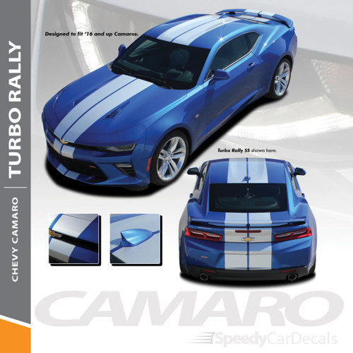 Camaro Rally Stripes TURBO RALLY Racing Vinyl Graphics Decals 2016-2018 Wet and Dry Install