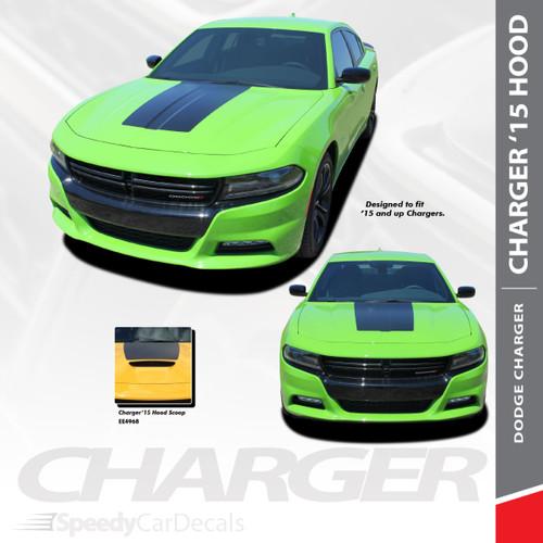 HOOD 15 : 2015-2018 2019 2020 2021 Dodge Charger SE RT Hemi Daytona Mopar Blackout Style Center Hood Vinyl Graphics Decals Kit