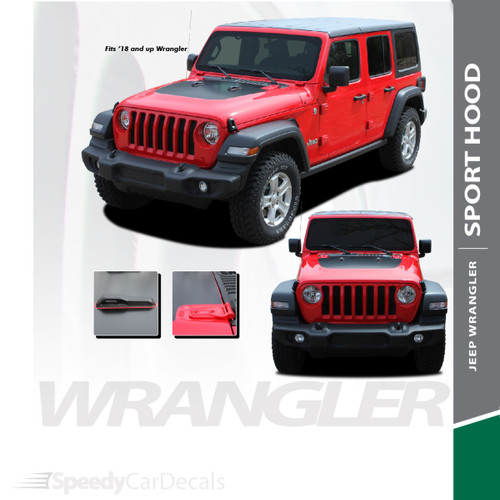 SPORT HOOD : 2018-2020 2021 Jeep Wrangler Hood Blackout Vinyl Graphics Decal Stripe Kit